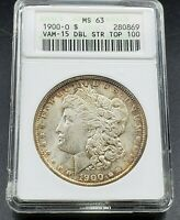 1900 O MORGAN SILVER DOLLAR VARIETY COIN ANACS MINT STATE 63 VAM-15 DOUBLED STARS TONER