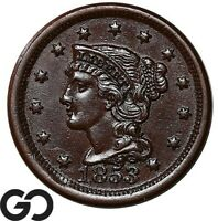 1853 LARGE CENT BRAIDED HAIR NICE CHOICE BU EARLY COPPER