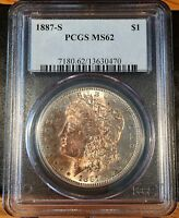1887-S MORGAN SILVER DOLLAR - PCGS MINT STATE 62 - HIGH QUALITY SCANS 0470