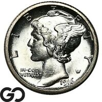 1916 S MERCURY DIME FULL SPLIT BANDS LUSTROUS GEM BU   FSB B