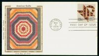 US FDC 1978 AMERICAN QUILTS FOLK ART COLORANO SILK FIRST DAY