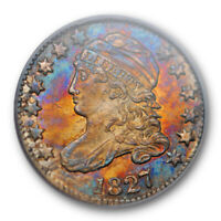 1827 10C CAPPED BUST DIME PCGS MINT STATE 63 UNCIRCULATED RAINBOW TONED PRETTY