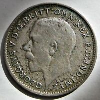 GREAT BRITAIN 1922 KING GEORGE V SILVER THREE PENCE COIN  KM