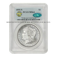 1895-S $1 SILVER MORGAN PCGS MINT STATE 64 PQ APPROVED CAC CERTIFIED SAN FRANCISCO COIN