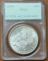1899-P MORGAN SILVER DOLLAR PCGS MINT STATE 62 MINT STATE 62 OGH RATTLER OLD GREEN HOLDER TCCCX
