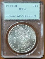 1900-O MORGAN SILVER DOLLAR PCGS MINT STATE 62 MINT STATE 62 OGH RATTLER OLD GREEN COIN - TCCCX