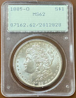 1885-O MORGAN SILVER DOLLAR PCGS MINT STATE 62 MINT STATE 62 OGH RATTLER OLD GREEN COIN - TCCCX