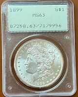 1899-P MORGAN SILVER DOLLAR PCGS MINT STATE 63 MINT STATE 63 OGH RATTLER OLD GREEN HOLDER TCCCX