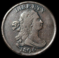 1804 DRAPED BUST HALF CENT .. SPIKED CHIN   CROSSLET 4 W/STE