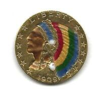 USA 1909 D COLORIZED INDIAN HEAD $5.00 QUARTER OUNCE GOLD CO
