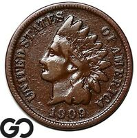 1909 S INDIAN HEAD CENT PENNY SCARCE CHOICE FINE KEY DATE FI