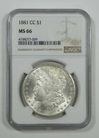 1881-CC MORGAN DOLLAR CERTIFIED NGC MINT STATE 66 CARSON CITY SILVER DOLLAR