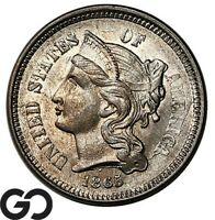 1865 THREE CENT NICKEL SHARP & LUSTROUS GEM BU