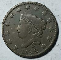 CORONET HEAD LARGE CENT 1822 FINE CLEANED COPPER