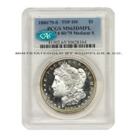 1880/79-S $1 SILVER MORGAN DOLLAR PCGS MINT STATE 65DMPL VAM 8 MEDIUM S CAC CERTIFIED