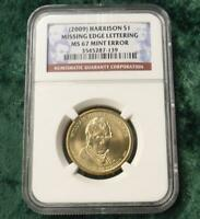 2009 NGC MINT STATE 67 MISSING EDGE LETTERS PRESIDENT HARRISON $1 MINT ERROR COIN
