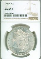 CONDITIONALLY ULTRA  - 1892 NGC MINT STATE 65 MORGAN SILVER DOLLAR - WOW LUSTER