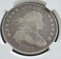 1801 DRAPED BUST ONE DOLLAR $1 SILVER COIN, NGC CERTIFIED VF-25