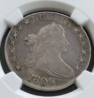 1806 DRAPED BUST HALF DOLLAR 50 SILVER COIN, NGC CERTIFIED EXTRA FINE -40