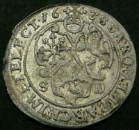 GERMAN STATES SAXONY ALBERTINE 1638 SD 1/24 THALER OLD SILVER WORLD COIN