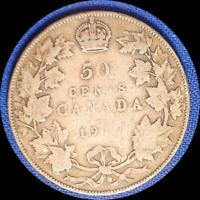 CANADA 1917 50 CENTS OLD STERLING SILVER WORLD COIN