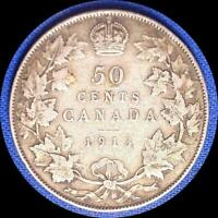 CANADA 1913 50 CENTS OLD STERLING SILVER WORLD COIN