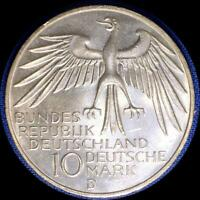 GERMANY 1972 D 10 MARKS OLD SILVER WORLD COIN CH. BU