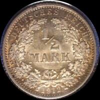GERMANY 1912 A 1/2 MARK OLD SILVER WORLD COIN NICE