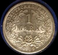 GERMANY 1909 D MARK OLD SILVER WORLD COIN NICE    BU