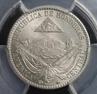 1869 HONDURAS  REPUBLIC . COPPER NICKEL 1/4 REAL COIN. POP 5/3  GEM  PCGS MS65