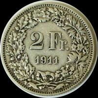 SWITZERLAND 1911 2 FRANCS OLD SILVER WORLD COIN