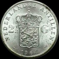 NETHERLAND ANTILLES 1964 2 12 GUILDERS OLD SILVER WORLD COIN CH. BU   A BEAUTY