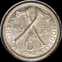 SOUTHERN RHODESIA 1935 SIX PENCE OLD SILVER WORLD COIN HIGH GRADE