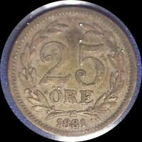 SWEDEN  1881 25 ORE OLD SILVER WORLD COIN