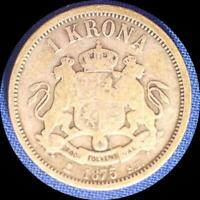 SWEDEN  1875 KRONA OLD SILVER WORLD COIN