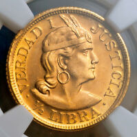 1966 PERU  REPUBLIC . GOLD  LIBRA  POUND  COIN.  3.99GM   TOP POP  NGC MS 67