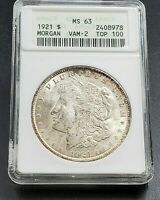 1921 P MORGAN SILVER DOLLAR VARIETY COIN ANACS MINT STATE 63 VAM-2 CONECA TOP100 LABEL