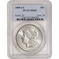 1885-CC US MORGAN SILVER DOLLAR $1 - PCGS MINT STATE 63