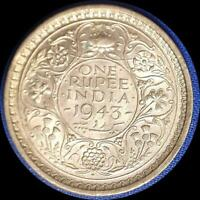 INDIA 1943 RUPEE OLD SILVER WORLD COIN AU   HIGH BOOK PRICE