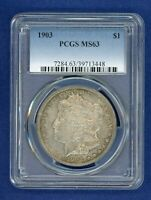 1903 P PCGS MINT STATE 63 MORGAN SILVER DOLLAR $1  DATE 1903-P MINT STATE 63 PQ COIN