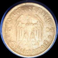 GERMANY 1934 D 5 REICHMARKS OLD SILVER WORLD COIN HIGH GRADE