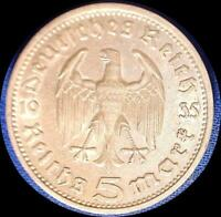 GERMANY 1935 G 5 REICHMARKS OLD SILVER WORLD COIN HIGH GRADE