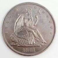 1861 O US SEATED LIBERTY 50 HALF DOLLAR SILVER COIN 12.4G