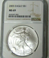 NGC MINT STATE 69 2003 AMERICAN SILVER EAGLE 1 OZ .999 FINE SILVER DOLLAR NEAR PERFECT