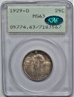 1929 D STANDING LIBERTY QUARTER 25C PCGS MS 63 OLD GREEN HOLDER RATTLER CAC