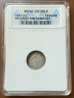 1861 LIBERTY SEATED SILVER HALF DIME ANACS MS60 MS 60 DETAILS COIN   TCCCX