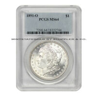 1891-O $1 SILVER MORGAN PCGS MINT STATE 64  CHOICE GRADE NEW ORLEANS SILVER DOLLAR COIN