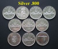 CANADA LOT OF 10 DOLLARS .800 SILVER   10 COINS   START @ 99