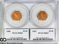 1908 & 1929 QUARTER EAGLE $2.5 GOLD INDIAN PCGS MS 63    FIRST & LAST OF SERIES