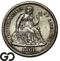 1861 SEATED LIBERTY DIME BRILLIANT UNCIRCULATED   CIVIL WAR ISSUE